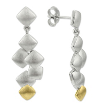 14K_Yellow_Gold_and_Sterling_Silver_Cascading_Square_Earrings