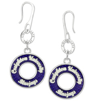 Creighton_Bluejays_Blue_Enameled_Circle_Earrings