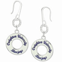 Creighton_Bluejays_White_Enamel_Circle_Earrings
