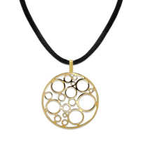 """14K_Yellow_Gold_Bubble_Disc_Pendant_and_Black_Cord,_18"""""""