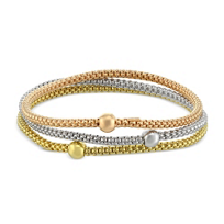 Berk: Sterling Silver With Rose and  Yellow Tone Set of Three Stretchy Bracelets