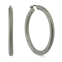 Sterling_Silver_and_Ruthenium_Malena_Matte_Sparkle_Hoop_Earrings,_1_3/4""