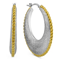 Sterling_Silver_and_Yellow_Tone_Sculpted_Hoop_Earrings_With_Rope_Detail