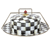 courtly check: MacKenzie-Childs Courtly Check Enamel Cake Carrier