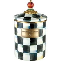 courtly check: MacKenzie-Childs Courtly Check Enamel Canister