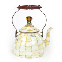 courtly check: Mackenzie Childs Courtly Check Parchment 2 Qt. Tea Kettle