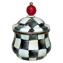 courtly check: MacKenzie-Childs Courtly Check Enamel Lidded Sugar Bowl