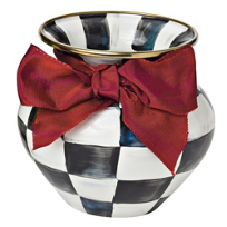 courtly check: MacKenzie-Childs Courtly Check Enamel Vase with Red Moire Ribbon
