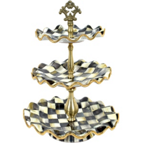 courtly check: MacKenzie-Childs Courtly Check Three Tier Sweet Stand
