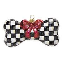 courtly check: MacKenzie-Childs Glass Ornament - Courtly Check Dog Bone