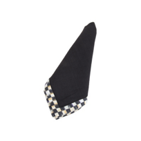 courtly check: MacKenzie Childs Courtly Check Hemstitch Napkin Black