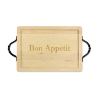 "Maple_Leaf_at_Home_Rectangle_Cutting_Board,_""Bon_Appetit"""