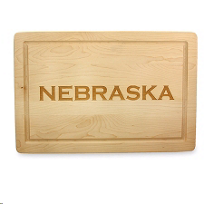 "Maple_Leaf_At_Home_18""_Rectangular_""Nebraska""_Board_No_Handles"