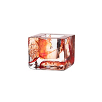 "Kosta_Boda_Orange_Brick_Votive,_H:_3""_W:_3_3/8""_"