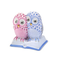 "Herend_Mulitcolor_Pair_of_Owls_on_Books,__2.5""L_X_2.5""H"