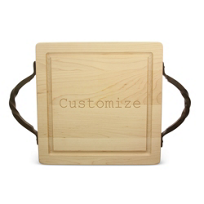 """Maple_Leaf_at_Home_12""""_Square_Cutting_Board_With_Handles,_Custom"""