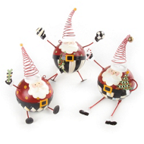 MacKenzie-Childs_Santa_Ornaments,_Set_of_3