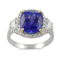 18K_White_Gold_Cushion_Tanzanite_and_Diamond_Ring,_5.68_ct