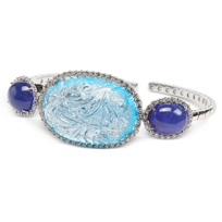 18K_White_Gold_Carved_Blue_Topaz_and_Cabochon_Tanzanite_Bracelet