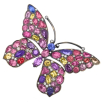 18K_Yellow_Gold_Spinel,_Multicolor_Sapphire_and_Diamond_Butterfly_Pin