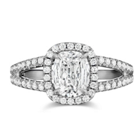 Henri_Daussi_18K_White_Gold_Cushion_Diamond_and_Round_Diamond_Split_Shank_Ring,_1.11cttw