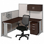 65W x 65D L Workstation with Storage and Chair