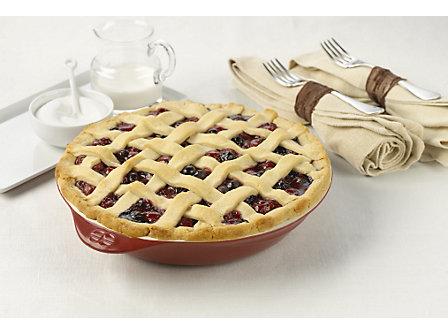 """Calphalon Ceramic Bakeware 9"""" Deep Dish Pie Pan- Cabernet"""