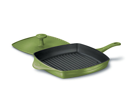 Calphalon Enamel Cast Iron Panini Pan with Press - Chive