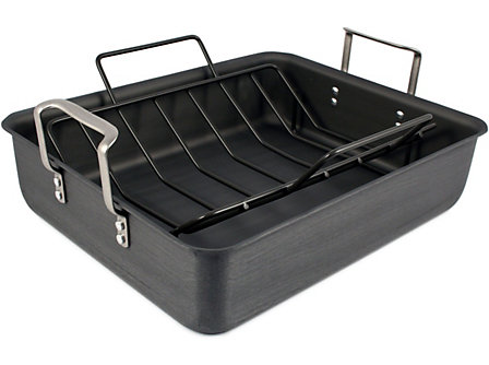 Calphalon Commercial Hard-Anodized 16x13x4-in. Roasting Pan with Nonstick Rack