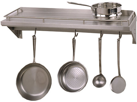 John Boos & Co. Cucina Americana 48x12-in. Cucina Mensola Grande Wall Shelf with Bar & Hooks: Stainless