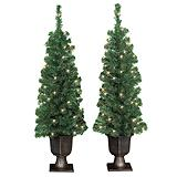Pre-Lit Christmas Trees, 4-ft, Set of 2