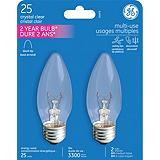 GE Clear Candle Medium Base Incandescent Bulb
