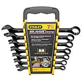 Stanley Black Chrome Metric Combination Wrench Set, 7-piece