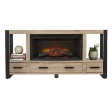 Banff Electric Media Fireplace boasts a contemporary design and a natural wood-burning fire effect Features ample storage space for DVDs
