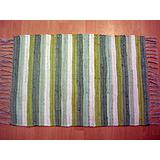 Multi Stripe Green Chindi Mat, 24x40-inch
