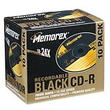 Memorex Printable CD-R, 10-pk, Black