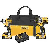 DeWALT 20V MAX XR Lithium Ion Brushless Compact Hammer Drill and Impact Driver Combo Kit