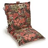 Black Floral Collection Patio Chair Cushion