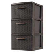 Tour de rangement sterilite 3 tiroirs tressage brun for Tour de rangement salle de bain