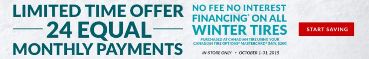 Winter Tires 24 Equal Payments Offer