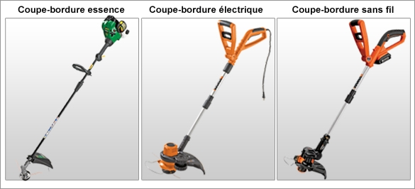 Alimentation. Coupe-bordure essence, Coupe-bordure �lectrique, Coupe-bordure sans fil rechargeable.