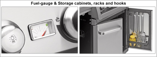 BBQ fuel-guage and storage cabinets, racks and hooks