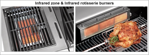 BBQ infared zone and infared rotisserie burners
