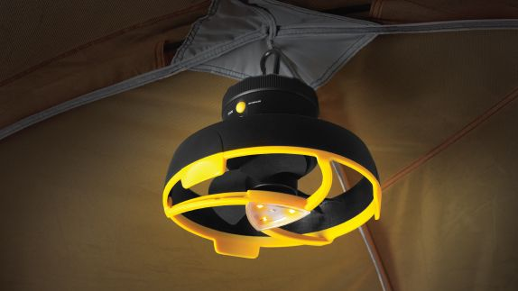 , battery-powered tent lights can easily be attached to the ceiling ...