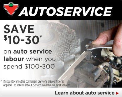 SAVE $10-30 on Auto Service Labour when you spend $100-300