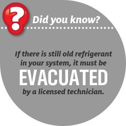 If there is still old refrigerant in your system, it must be EVACUATED by a licensed technician.