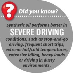 Synthetic oil performs better in SEVERE DRIVING conditions, such as stop-and-go driving, frequent short trips, extreme hot/cold temperatures, extensive idling, heavy loads or driving in dusty environments.