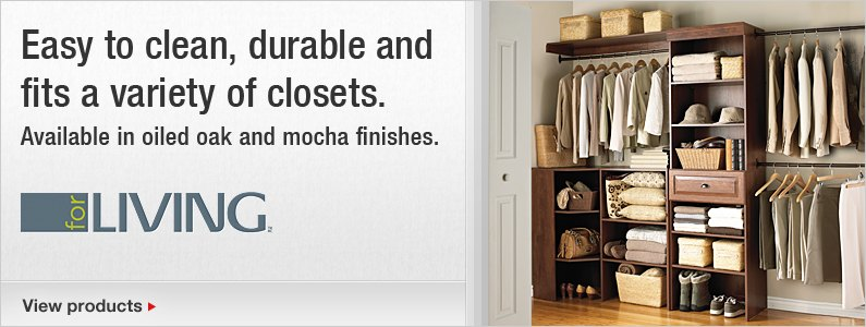 Easy to clean, durable and fits a variety of closets. Available in oiled oak and mocha finishes.