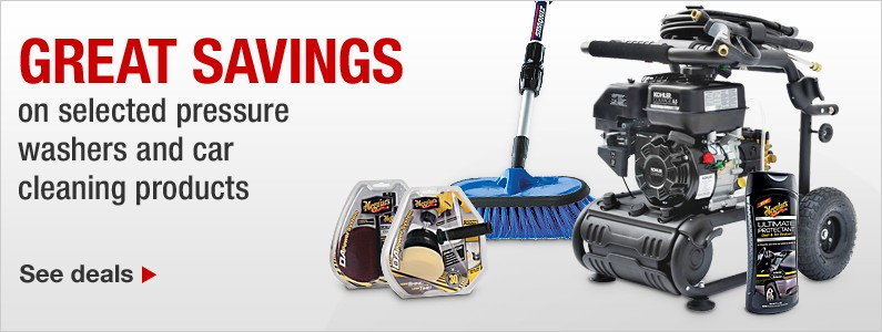 Great savings on selected pressure washers and car cleaning products