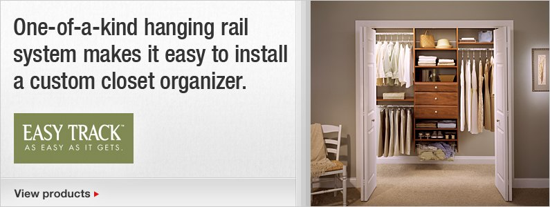 One-of-a-kind hanging rail system makes it easy to install a custom closet organizer.